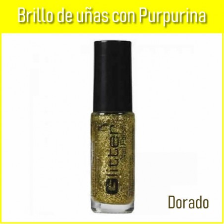 Brillo uñas purpurina dorada